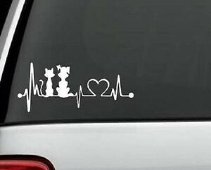 Cat Dog Love Heartbeat Decal sticker For Car Truck Bumper Wall Window