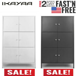 Floor Cabinet 6 Doors Craft Armoire Space Saving Furniture Storage Shelves Z0e4