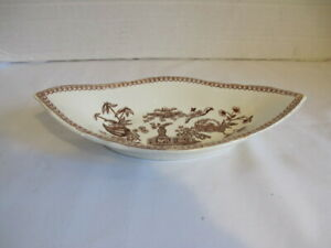 Rare Antique T Elsmore Son Brown Transferware Aesthetic Candy Relish Dish