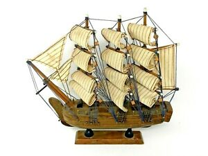 Vintage Small Wooden Multi Sail Boat Model Antique Shelf Display Pirate Ship