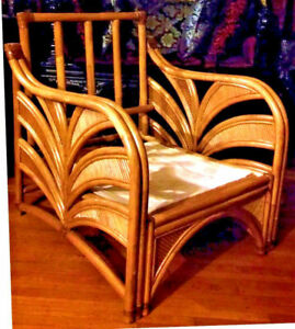 Antique Vintage Art Deco Sofa Chair Wicker Palm Bamboo Garden Patio Rattan Big
