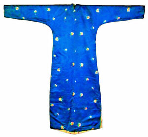 Antique Chinese Silk Blue Rare Qipao Cheongsam Winter Robe Qing Dress Stamped
