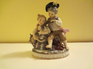 Rare Antique Sevres Porcelain Figurine Boy Girl And Dog 1940s Or Earlier