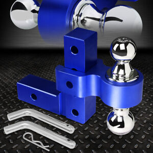 Aluminum Dual Ball 6 Drop Adjustable Trailer Tow Towing Hitch 2 Receiver Blue