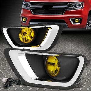 For 15 19 Chevy Colorado Amber Lens Bumper Driving Fog Light Lamp W bezel switch