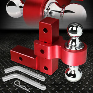 Aluminum Dual Ball 6 Drop Adjustable Trailer Tow Towing Hitch 2 Receiver Red