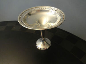 Sterling Silver 925 Signed Crosby Footed Compote Candy Dish Bowl Nice