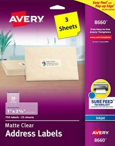 4 Sheets Avery 8660 18660 Clear Mailing Labels 1 X 2 5 8 Inkjet B2g1