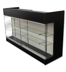 Ledgetop 6 Sales Pos Reception Display Showcase Counter Knockdown Black New