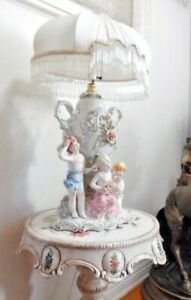 Antique Italian Porcelain Children In The Garden Statue De Capodimonte Lamp