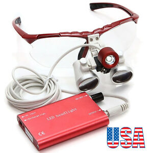Us Dentist Red Dental Loupes 3 5x 420mm Surgical Medical Led Head Light Lamp