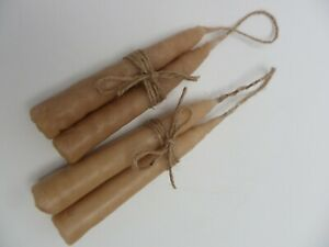 Four Faux Hanging Tallow Taper Candles Handmade Early Lighting Primitive Museum
