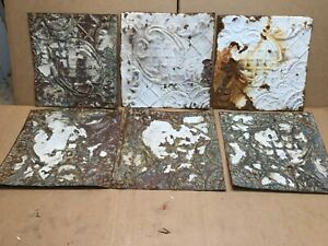 6pc Lot Of 12 By 12 Antique Ceiling Tin Vintage Reclaimed Salvage Art Craft