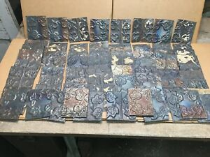 75pc Craft Lot Of 5 By 4 Antique Ceiling Tin Vintage Reclaimed Salvage Art