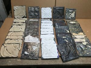 50pc Craft Lot Of 5 By 5 Antique Ceiling Tin Vintage Reclaimed Salvage Art
