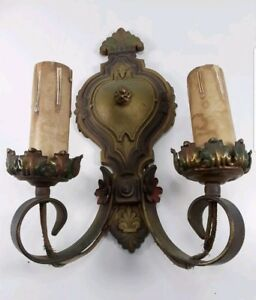 Vtg 1930s Cast Iron Gothic Arts Crafts Electric Wall Sconce Light Fixtures