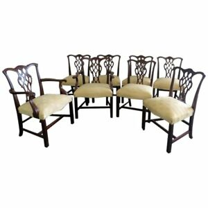 Set Of 8 Baker Chippendale Style Dining Chairs
