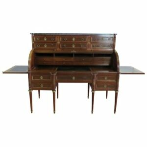 Superb Marble Top Maison Jansen Directoire Style Cylinder Desk Pull Out Trays