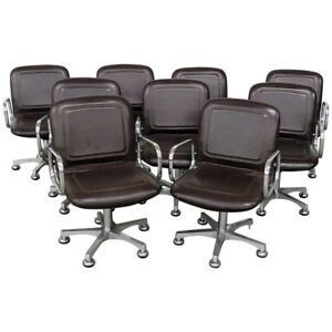 Set Of Nine Mid Century Modern Office Chairs