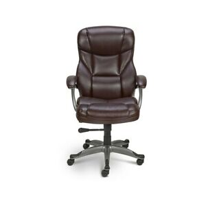 Staples Osgood Bonded Leather High back Manager s Chair Brown 416523