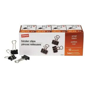 Staples Small Metal Binder Clips Bulk Pk Black 3 4 Size With 3 8 Capacity