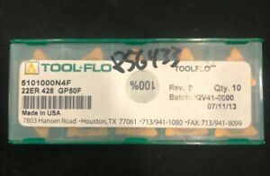 Tool flo 5101000n4f Threading Inserts 22er 428 10 Pack Factory Sealed