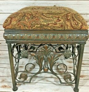 Stunning Vintage Ornate Large Wrought Iron Foot Stool Ottoman Victorian Style