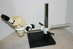 Olympus Sz 4045 Esd Stereozoom Microscope 7 40x On Boom Stand