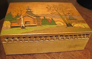 Vintage Hand Crafted And Painted Folk Art Wooden Box Beautiful Wood