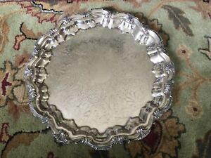 English 16 Silverplate Footed Round Serving Platter Marked