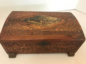 Vintage Jewelry Dresser Box Cedar Hand Carved Decoupage Some Damage