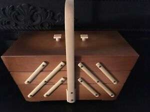 Vintage Art Deco Mid Century Modern Blonde Wood Sewing Box