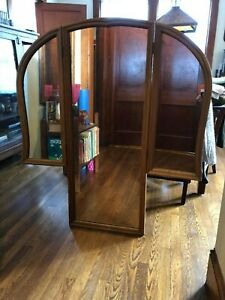 Vintage Art Deco Tri Fold 3 Panel Large Wall Mirror With Wood Frame