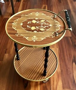 1960 Italian Marquetry Bar Cart Or Tea Trolley By Sorrento Vintage Round Table