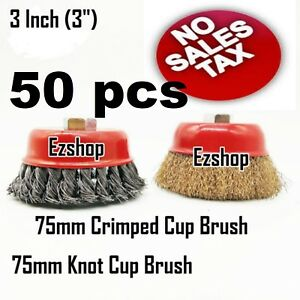 50 Wire Cup Brush 3 75mm For 4 1 2 115mm Angle Grinder Twist Knot Crimped