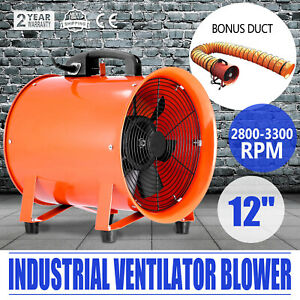 12 Extractor Fan Blower Portable 5m Duct Hose Workshop Rubber Feet Air Mover