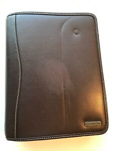 Franklin Covey Brown Leather Planner Binder 7 Ring Zip 1 5 Ring W Inserts