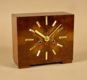 Very Stylish Art Deco Walnut And Ormolu Mantel Clock