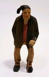 Antique Hand Carved Wooden Black Forest Old Man With Cane Figurines