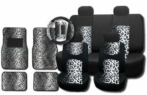 Gray Leopard Mesh 15pc Full Set Car Seat Covers And Floor Mats