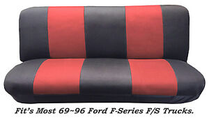 Mesh Blk Red Full Size Bench Seat Cover Fits Most 69 96 Ford F Series F Strucks