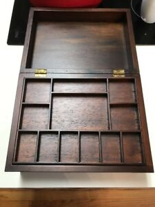 Vintage Walnut Sewing Box Jewelry Coin And Keys Valet Excellent Condition