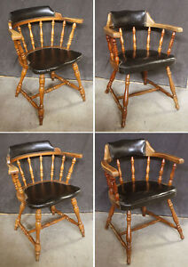 Set 4 Vintage Antique Hale Wood Wooden Fabric Dining Side Chair Arm Armchair