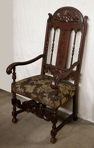 48 H Antique Vintage Victorian Wood Fabric Parlor Side Dining Armchair Arm Chair