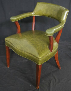 Beautiful Vintage Mahogany Wood Green Library Office Side Arm Chair