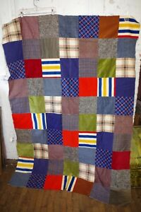 Vintage Awesome Handmade Squares Pieced Unfinished Patchwork Quilt Corduroy