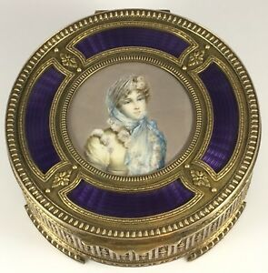 Antique French Bronze Purple Enamel Handpainted Lady Portrait Trinket Vanity Box