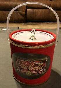 Vintage Coca-Cola Ice Bucket Red & Gold Made USA