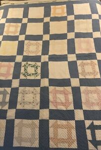 Antique Vintage Beautifully Hand Quilted Churn Dash Quilt Blue