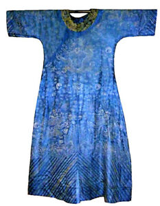 Antique Chinese Silk Dragon Robe Embroidery Qing Estate Jifu Summer Gauze Blue